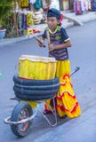 Mid autumn festiaval in Hoi An. HOI AN , VIETNAM - OCT 04 : Participant in a Lion dance during the Mid autumn festiaval in Hoi An ,Vietnam on October 04 2017 Stock Photo