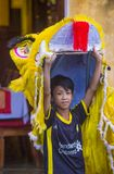 Mid autumn festiaval in Hoi An. HOI AN , VIETNAM - OCT 04 : Participant in a Lion dance during the Mid autumn festiaval in Hoi An ,Vietnam on October 04 2017 Royalty Free Stock Photography