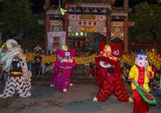 Mid autumn festiaval in Hoi An. HOI AN , VIETNAM - OCT 04 : Participants in a Lion dance during the Mid autumn festiaval in Hoi An ,Vietnam on October 04 2017 Royalty Free Stock Images