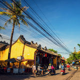 Hoi An, Vietnam - September 02, 2013: People are driving the motorbike in the street Royalty Free Stock Image
