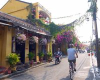 Mix of transportation in Hoi An royalty free stock image