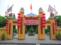 The gate of a traditional land God temple stock photography