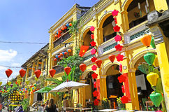 Hoian Ancient town houses. Colourful buildings with festive silk lanterns. UNESCO heritage site. Vietnam. Hoian Ancient town houses. Colourful buildings with stock images