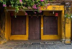 Yellow walls in the Hoian - Vietnam Royalty Free Stock Photos