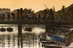 Boats and bridge , Hoian - Vietnam Stock Photography