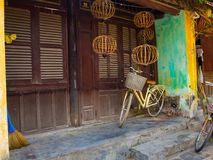 Hoian, Vietnam - August 20, 2017: Close up of a bike parked at backyard in the patio, in a house in Hoi An ancient town Royalty Free Stock Photos
