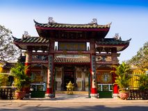HOIAN, VIETNAM, SEPTEMBER, 04 2017: Beautiful view of an ancient gorgeous temple at hoian, in a sunny day in Vietnam Royalty Free Stock Photography