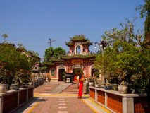 HOIAN, VIETNAM, SEPTEMBER, 04 2017: Beautiful view of an ancient gorgeous temple at hoian, in a sunny day in Vietnam Stock Photography