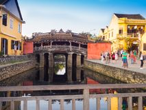 HOIAN, VIETNAM, SEPTEMBER, 04 2017: Unidentified people walking in a covered bridge Cau Chua Pagoda, Cau Nhat Ban, Lai Royalty Free Stock Photography