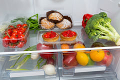 Сhoice Of Food In The Fridge At Home Royalty Free Stock Image