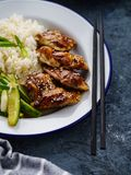 Hoisin Chicken. Traditional Asian cuisine. Chicken with sauce, r. Ice and pickled cucumbers royalty free stock photos