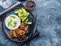 Hoisin Chicken. Traditional Asian cuisine. Chicken with sauce, r. Ice and pickled cucumbers royalty free stock photography