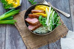 Hoisin duck with mango, spring onion, rocket lettuce salad and rice. Top view royalty free stock photography