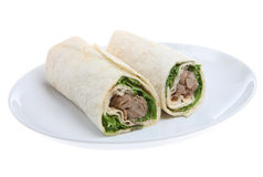 Hoisin Duck Wrap. Duck with hoisin sauce, lettuce and spring onions in a flour wrap stock photo