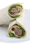 Hoisin Duck Wrap. Duck meat with hoisin sauce in a tortilla wrap stock image