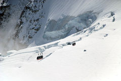 Hoist boxes against the white glacier, Chamonix Royalty Free Stock Photo