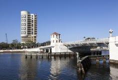 Hoist-Bridge in Tampa. The hoist-bridge over Hillsborough River in Tampa downtown & x28;Florida& x29 stock image