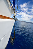 Hoisting of anchor on a sailing yacht. Detail during hoisting of anchor on a sailing yacht Stock Photography