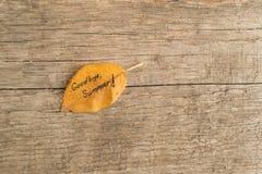 Hoja amarilla o anaranjada con VERANO de la inscripción ADIÓS en el fondo de madera Imagenes de archivo
