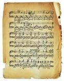 Hoja antigua de la nota con las notas aisladas Imagen de archivo