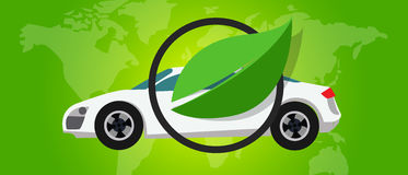 Hoja cero favorable al medio ambiente del verde de la emisión del eco del coche de la pila de combustible del hidrógeno libre illustration