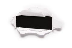 Hoja con el agujero rectangular imagen de archivo