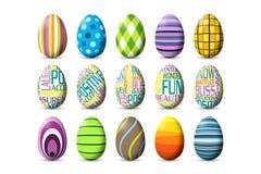 Hoja de 15 huevos de Pascua coloreados Fotos de archivo