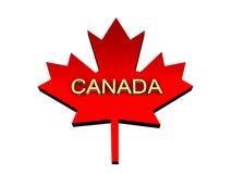 Hoja de arce con una palabra Canadá del oro. Fotos de archivo