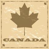Hoja de arce de Canadá del viejo estilo ilustración del vector
