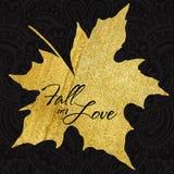 Hoja de arce del otoño del vector con textura de acrílico del oro Fotos de archivo libres de regalías