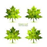 Hoja de arce verde del vector del mosaico Fotos de archivo libres de regalías