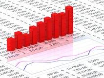 Hoja de balance con el gráfico rojo Imagen de archivo libre de regalías