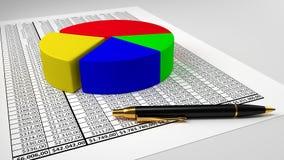 Hoja de cálculo con el gráfico de sectores y la pluma fotos de archivo