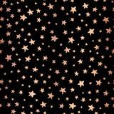 Hoja de cobre de las estrellas Handdrawn inconsútiles en fondo negro del vector Modelo para la Navidad y las celebraciones Oro co libre illustration