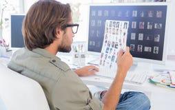 Hoja de examen del contacto del editor de fotos foto de archivo