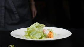 Hoja de la lechuga que cae abajo en la cámara lenta en plato con el prendedero de color salmón freshfried colocado en la placa bl almacen de metraje de vídeo