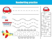 Hoja de la práctica de la escritura Juego educativo de los niños Imagen de archivo libre de regalías