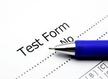 Hoja de la puntuación del test Fotos de archivo