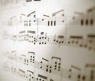 Hoja de notas musicales Foto de archivo