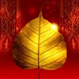 Hoja de oro amarillo (hoja del bodhi) Imagen de archivo