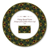 Hoja de oro verde antigua de la flor del marco 316 retros redondos del vintage Imágenes de archivo libres de regalías
