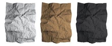 Hoja de papel arrugada Texturas del papel negro, blanco y marrón fijadas Vector Fotografía de archivo