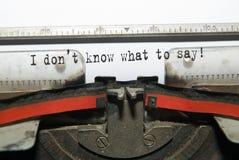 Hoja de papel con la inscripción en la máquina de escribir Imagen de archivo