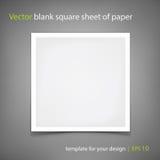 Hoja de papel cuadrada en blanco del vector Modelo para su diseño Foto de archivo