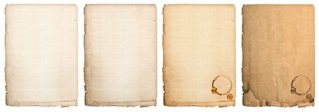 Hoja de papel envejecida aislada en el fondo blanco página usada del libro imagen de archivo libre de regalías