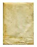Hoja de papel pisoteada y manchada vieja Imágenes de archivo libres de regalías