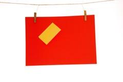 Hoja de papel roja y amarillo Imágenes de archivo libres de regalías