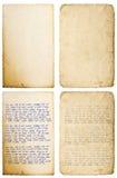 Hoja de papel vieja con escritura manuscrita de la letra de los bordes Imagenes de archivo