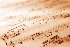Hoja de símbolos musicales Fotografía de archivo
