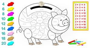 Hoja de trabajo con los ejercicios para los niños con la multiplicación por dos Necesite solucionar ejemplos y pintar la imagen e Imagen de archivo